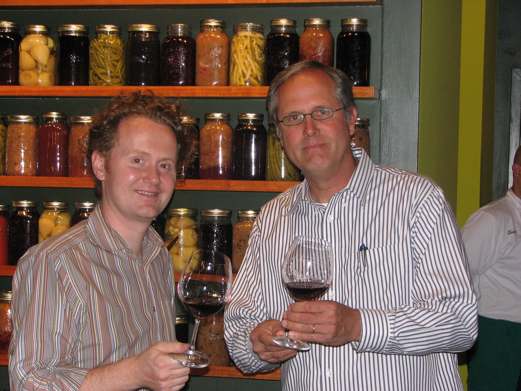 Doesn't time fly. 10 years ago with Hitching Post Co-Vigneron Gray Hartley. Thank goodness I moved out of this phase of wearing terrible stripey shirts.
