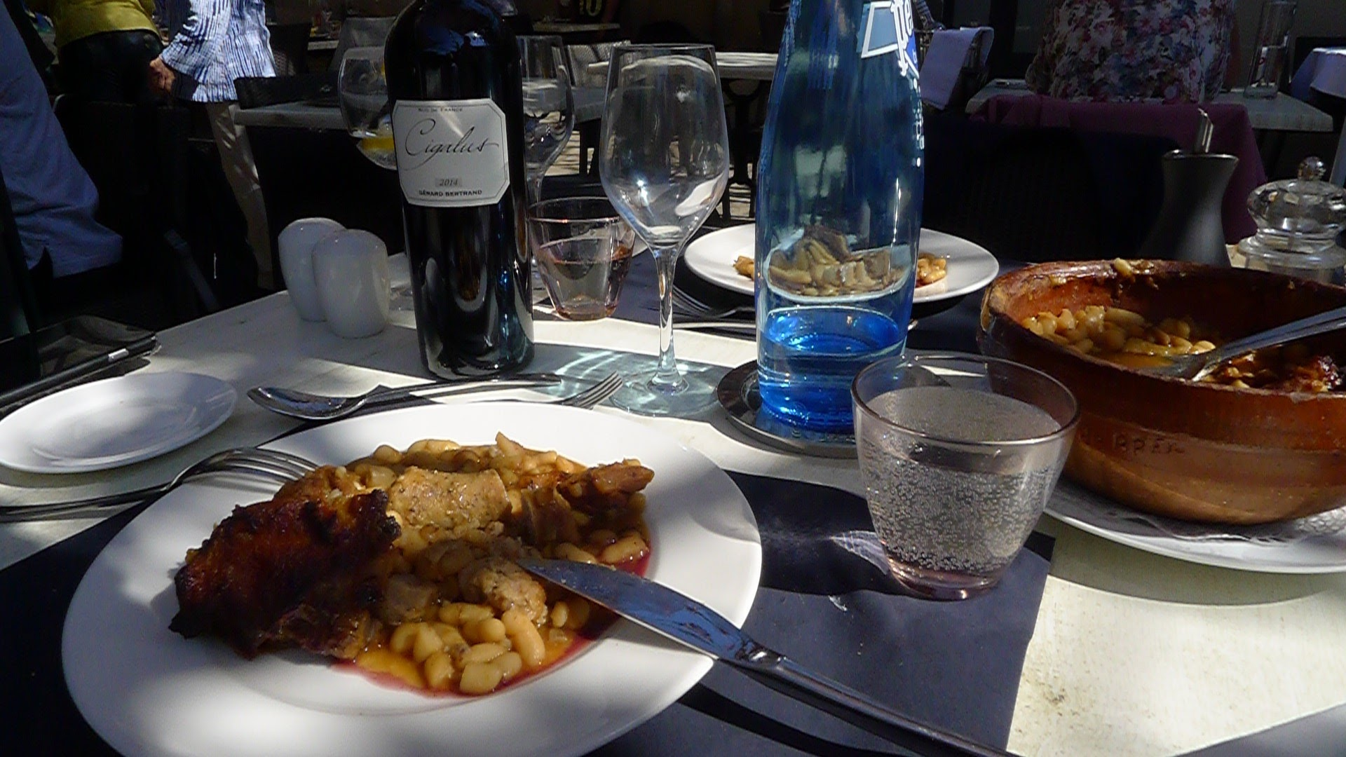 It wouldn't be Carcassonne without a Cassoulet, here served with Gerard Bertrand's Domaine de Cigalus Rouge. A perfect match.