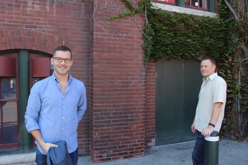 Revana and Alexana's Scott Flory with wine agent Bernard Stramwasser.