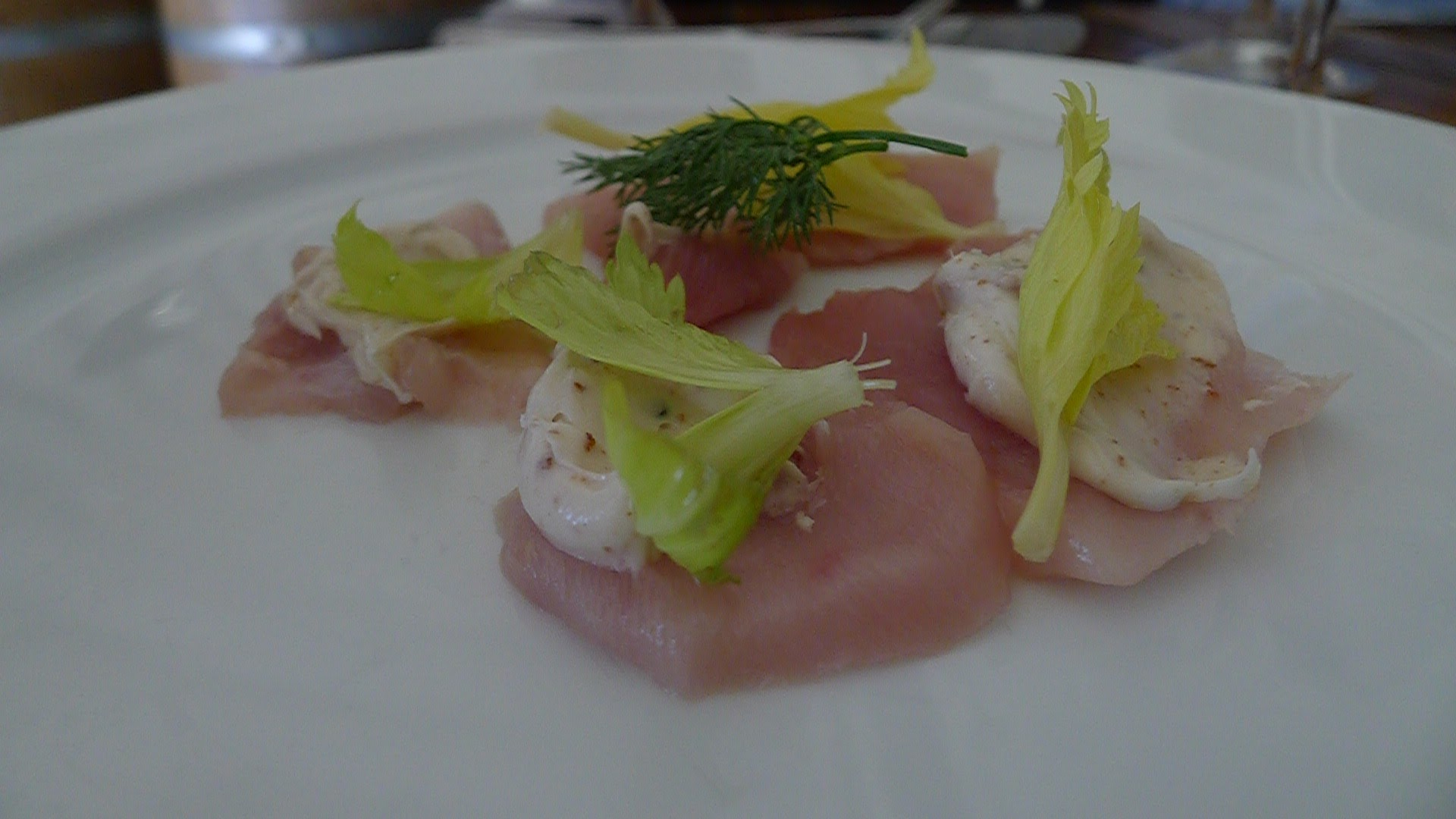 B.C. Albacore Tuna with Whipped Bacon Fat and Celery Foliage.