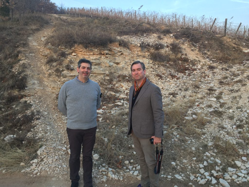 Winemaker Riccardo Tedeschi walks GFR's Malcolm Jolley through his Veronese vineyards.