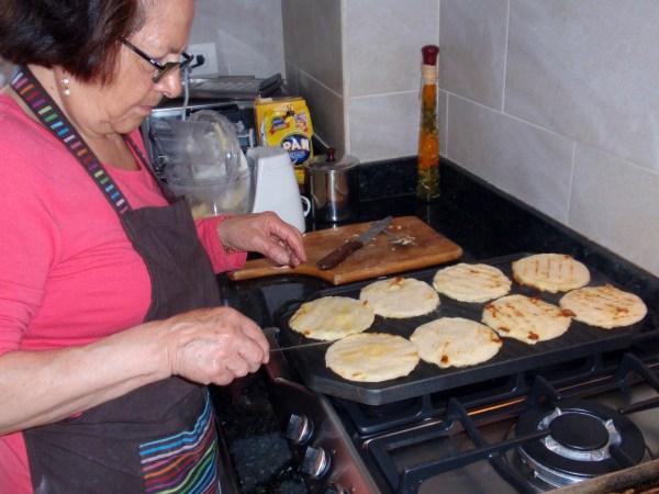 cooking arepas