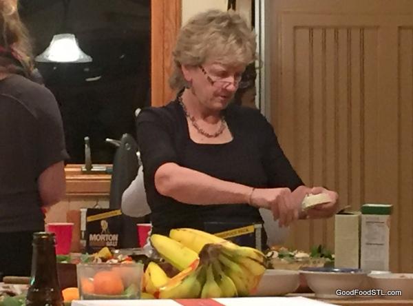 Robin preparing New Year's Eve dinner