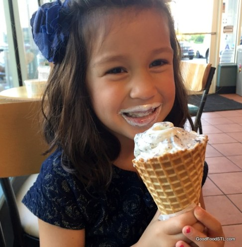 Granddaughter eating ice cream