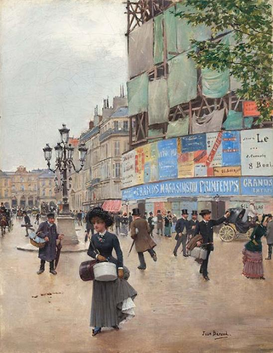 Paris, rue du Havre, 1882, by Jean Beraud. Degas exhibit, St. Louis Art Museum