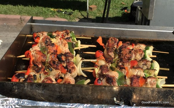 Kabobs on grill at the St. Louis International Festival of Nations