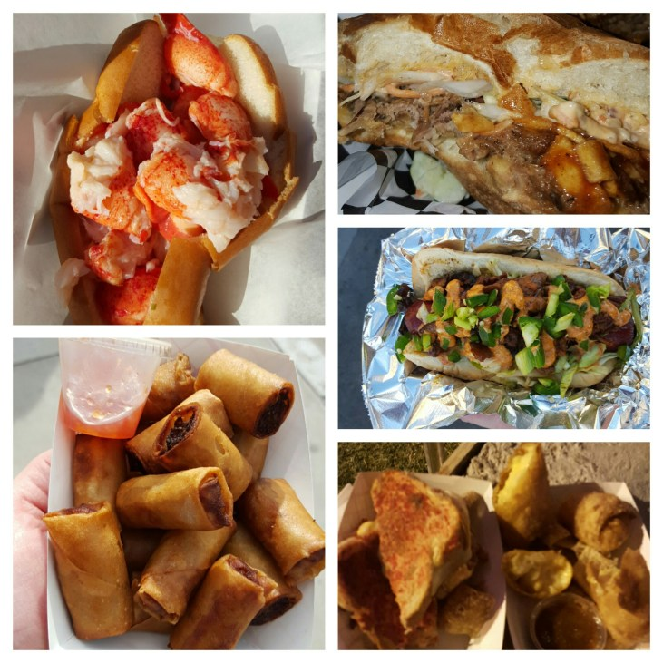 From Top Left Cousins Maine Lobster Roll Truck U BBQ - pulled pork torta Buldogi's Angry Dog Strip Chezze's Hot Streak SandWISH Oming's Kitchen Lumpia