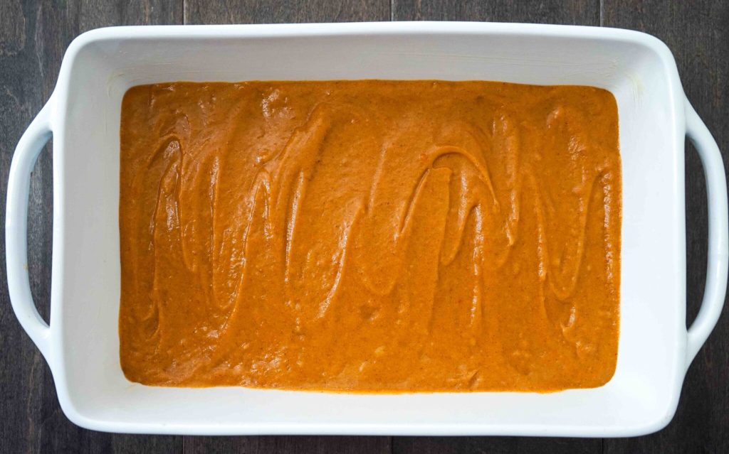 Gluten-free pumpkin squares batter in baking dish