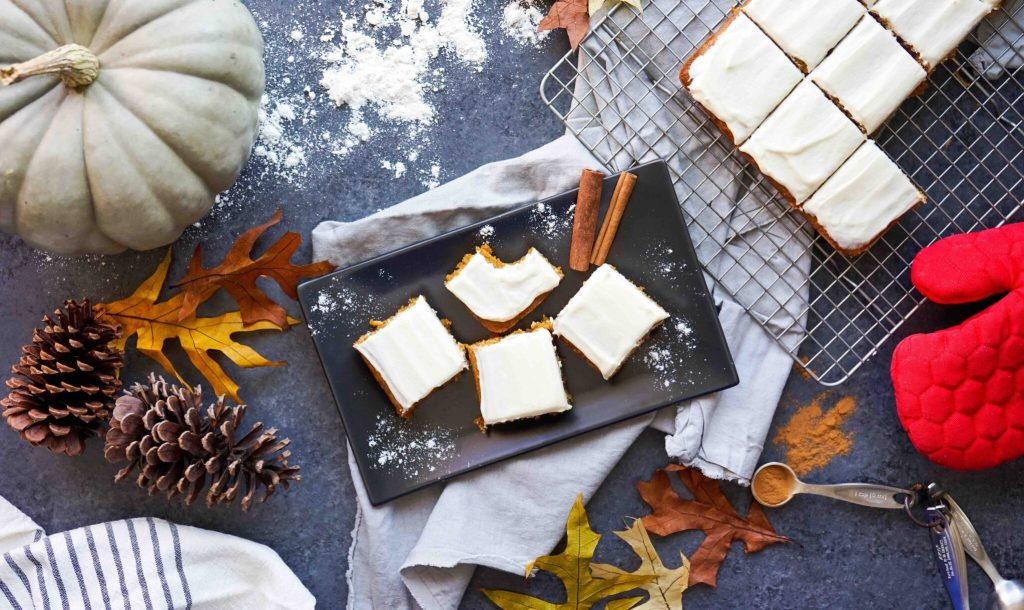 Gluten-Free Pumpkin Squares Recipe fall overhead shot