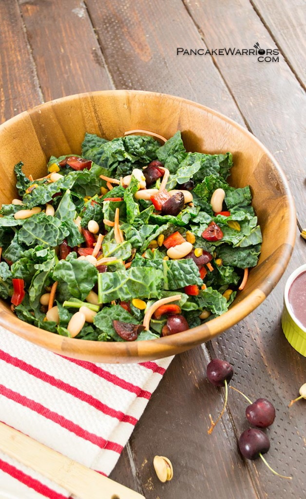 Cherry Kale Salad by Pancake Warriors