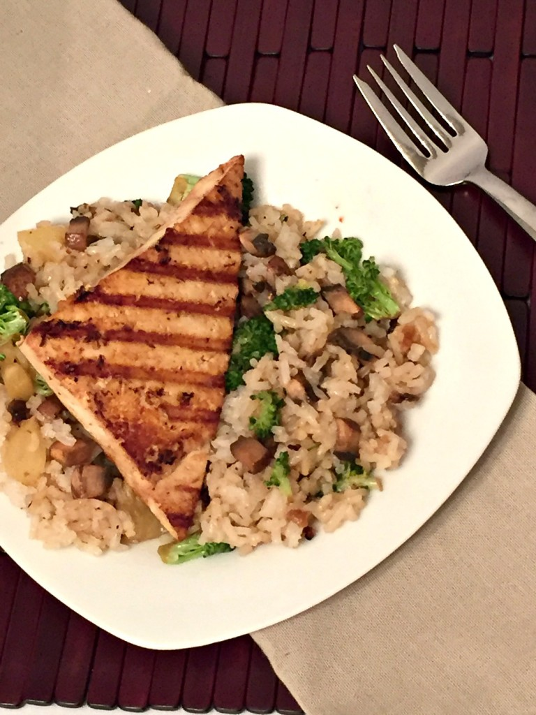 Teriyaki tofu with rice vertical