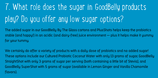 The role of sugar in Goodbelly probiotics drinks