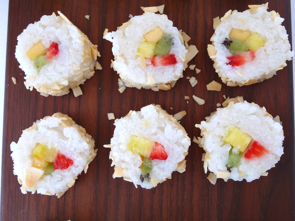 Fruit Sushi Coconut Close Up