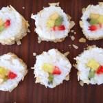 Fruit Sushi Coconut Close Up