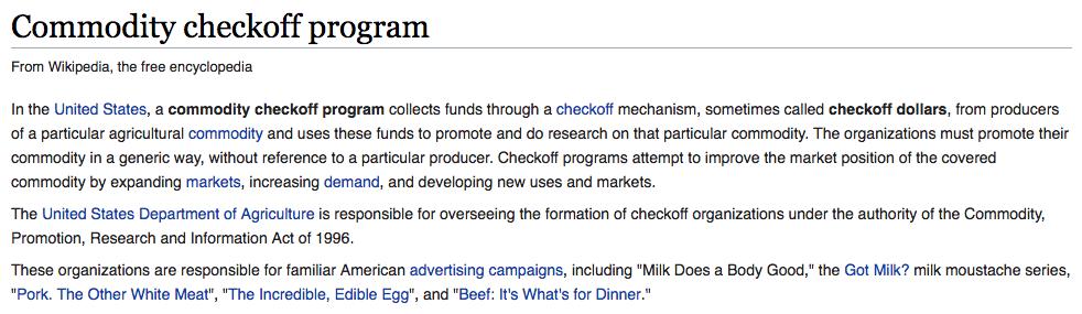 definition of a checkoff program2