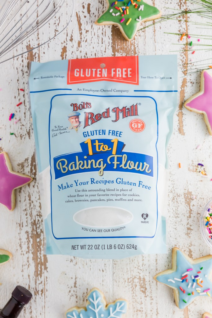 Bob's Red Mill 1-to-1 gluten-free flour to use in the making of the No spread Gluten-Free Sugar Cookies