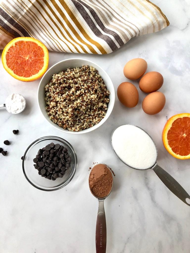 Ingredients for chocolate quinoa cake