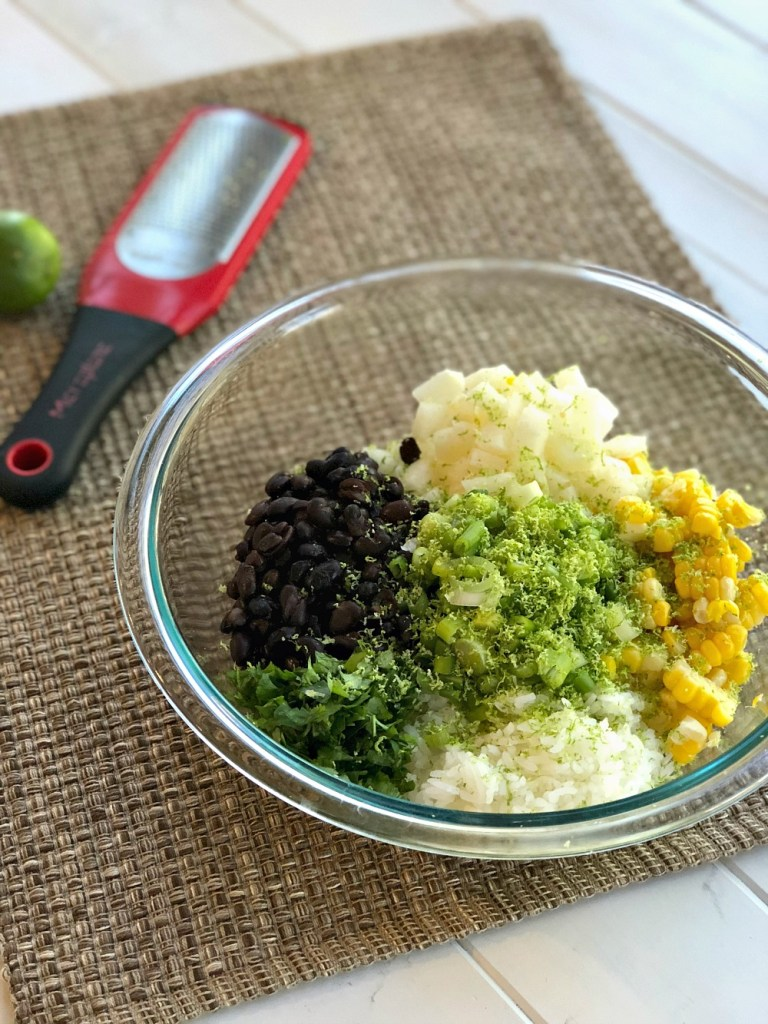 Cilantro Lime Rice and Black Bean Salsa ingredients