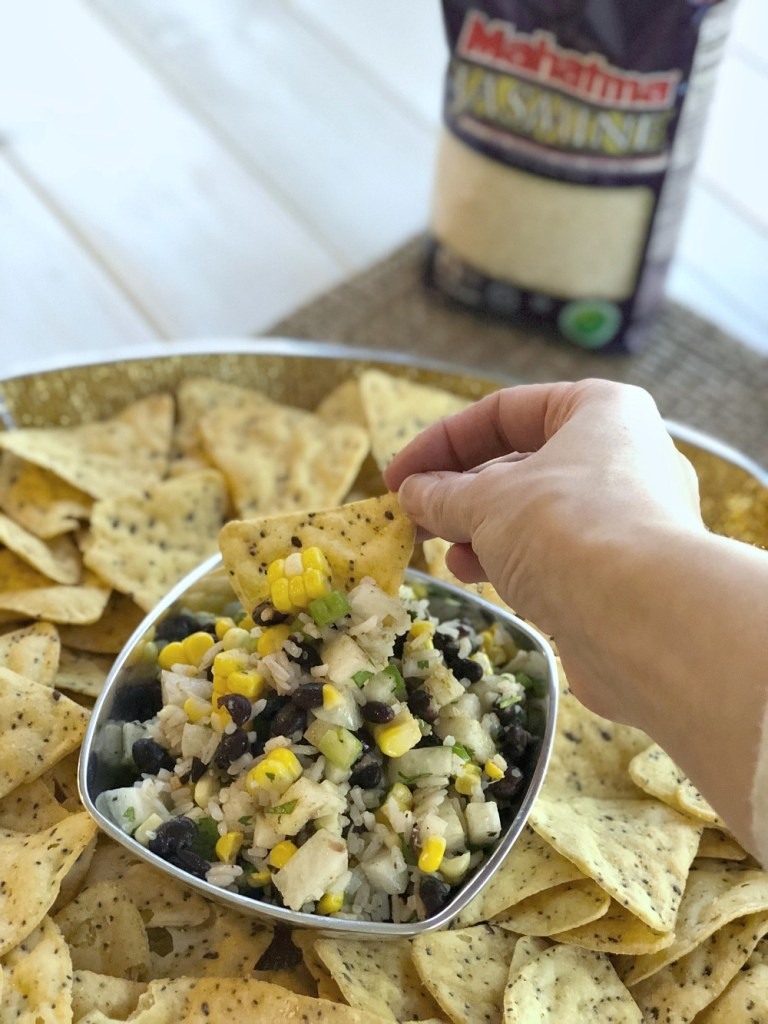 Cilantro Lime Rice and Black Bean Salsa dipping