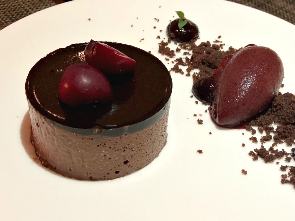 Chocolate mousse dessert at Indigo gluten-free restaurant in London