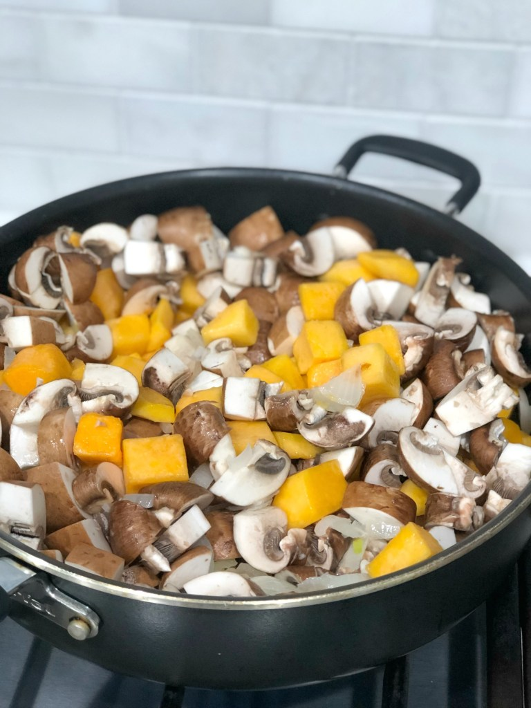 Butternut squash, mushrooms and onions cooking in a pot in anticipation of gluten-free chicken pot pie 1