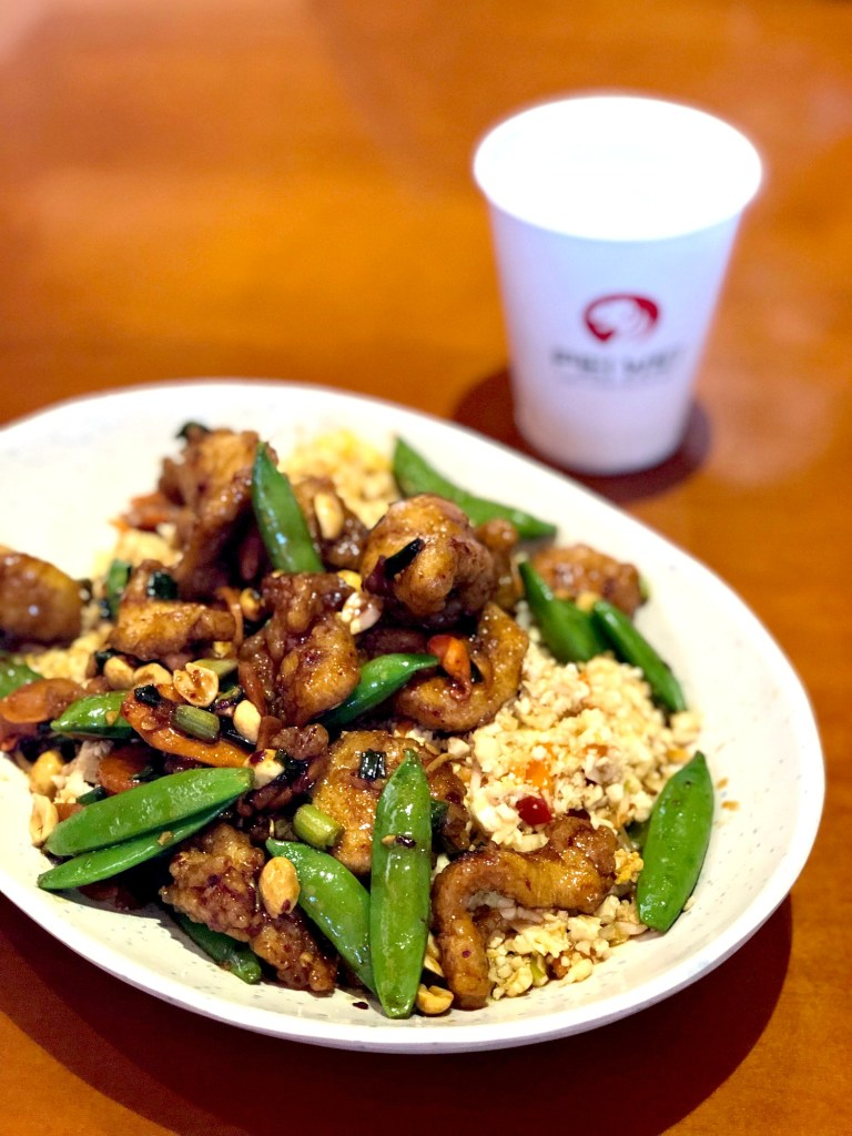 Gluten-Free Pei Wei Kung Pao Chicken with Cauliflower Rice plate