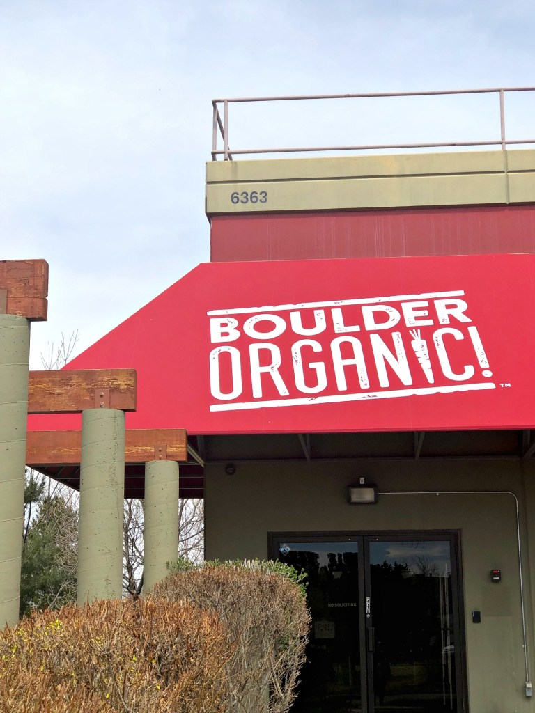 Boulder Organic sign in front of offices