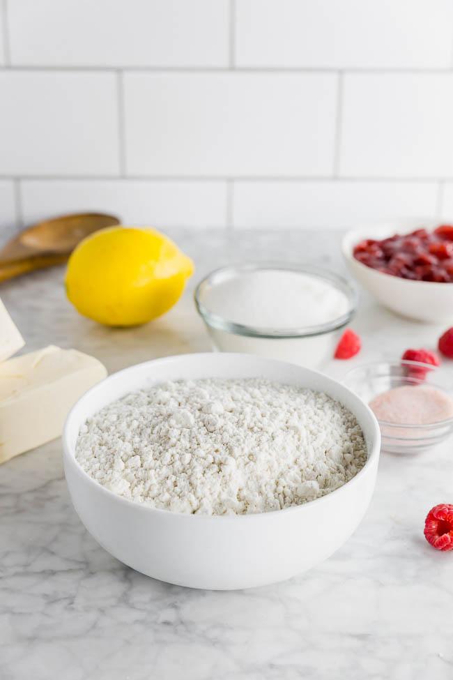 bowl of flour with lemon zest