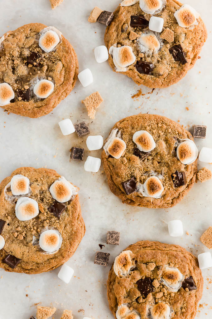 Upclose picture of baked gluten-free s'mores cookies