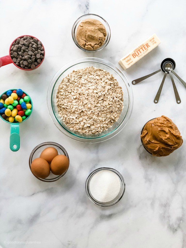 Overhead shot of ingredients needed for gluten-free monster cookies
