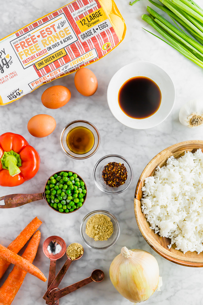a layout of all the ingredients needed to make gluten-free egg fried rice
