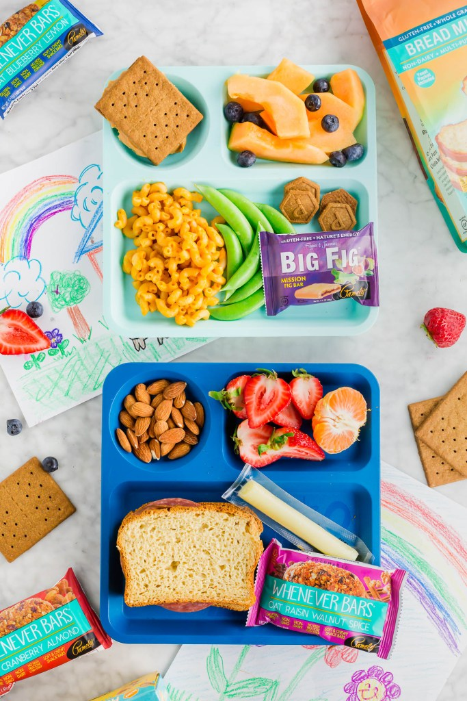 overhead picture of several gluten-free packed lunches featuring Pamela's products