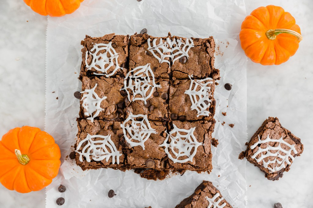 gluten-free Double Chocolate brownies with spider webs