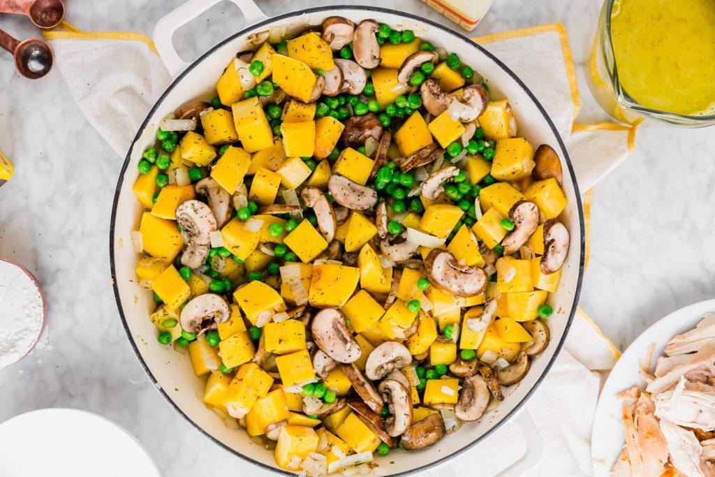 vegetables added to chicken pot pie