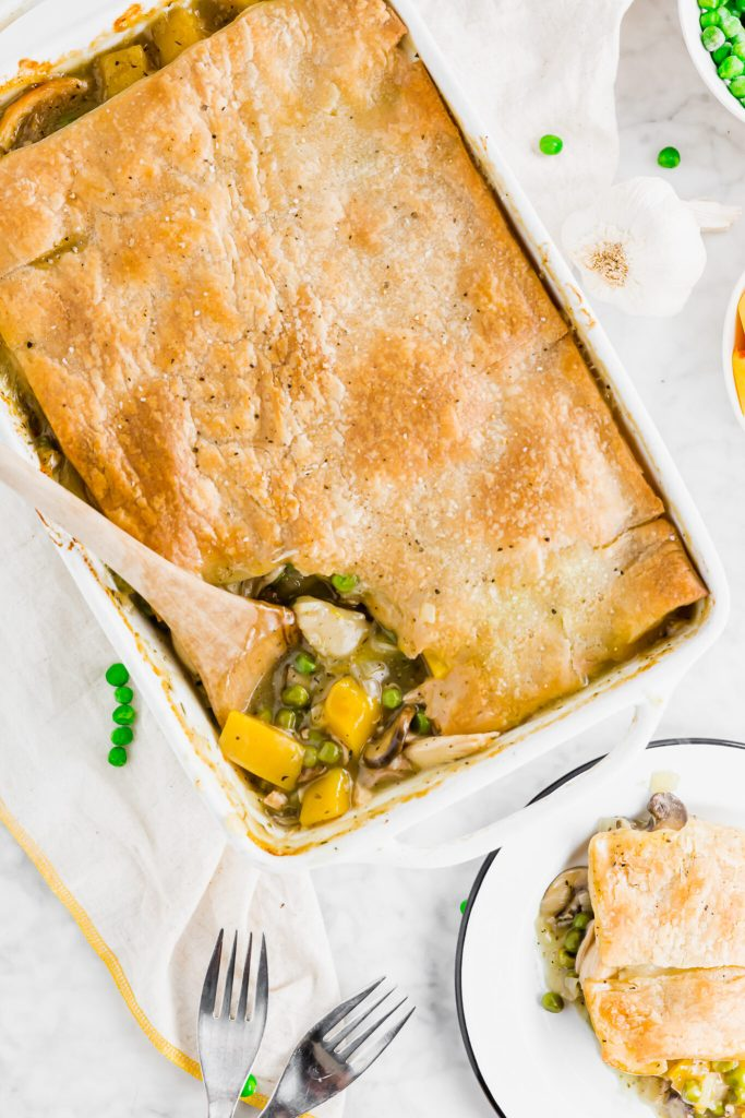 Gluten-Free chicken pot pie overhead image with slice taken out of casserole dish
