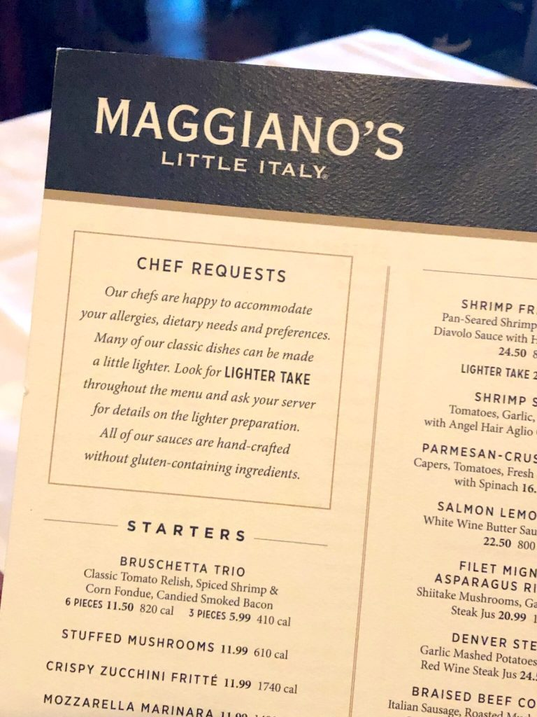 Maggiano's gluten-free menu chef requests