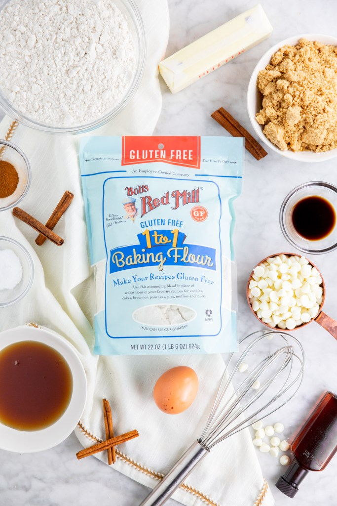 Picture of Bob's Red Mill 1-to-1 Gluten-Free Blend surrounded by cookie ingredients
