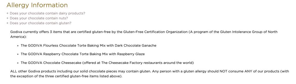 Screenshot of Godiva's statement on gluten