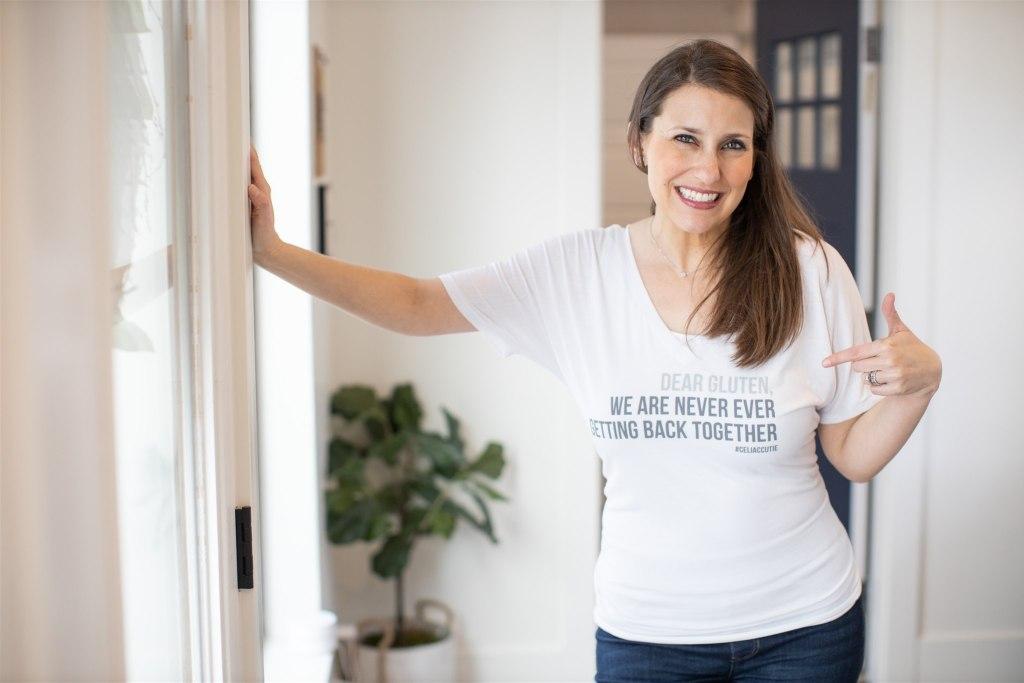 Jenny in Dear Gluten shirt