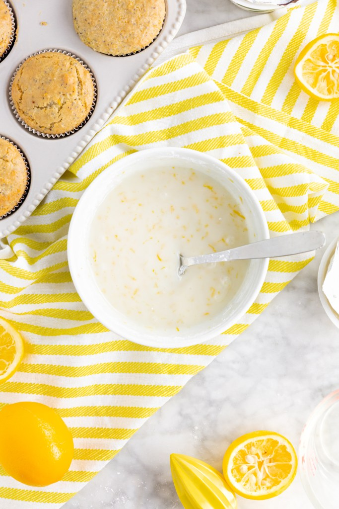 Picture of lemony glaze to coat gluten-free lemon poppy seed muffins