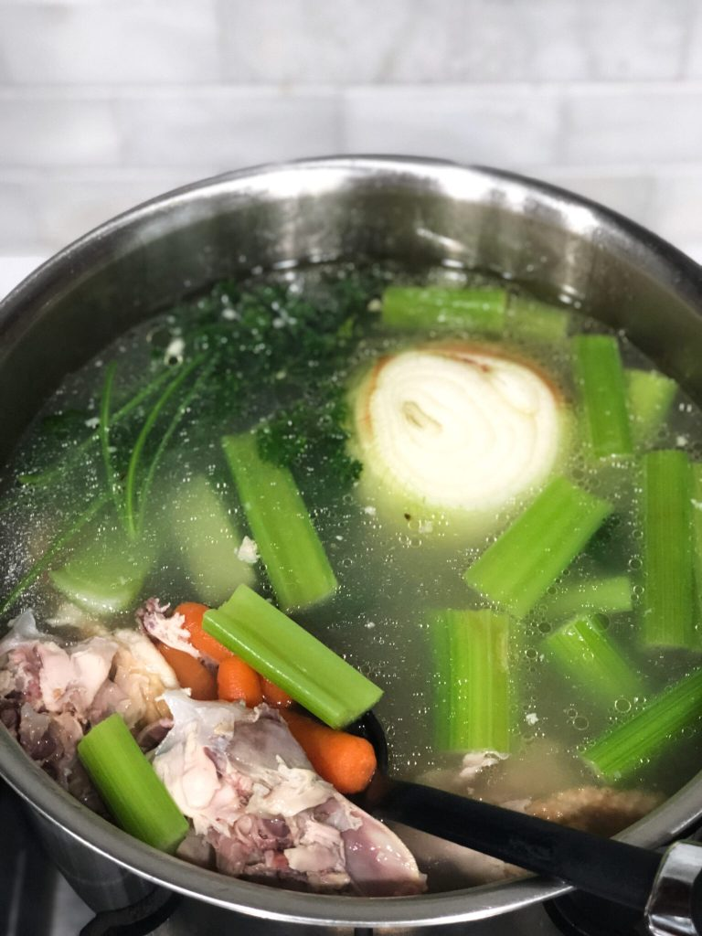 How to make chicken carcass soup using leftover parts from Costco rotisserie chicken