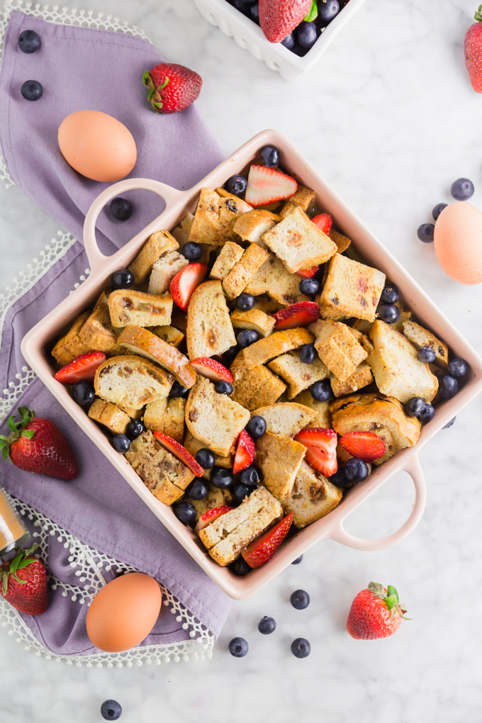 gluten-free french toast casserole before baking with fruit mixed in