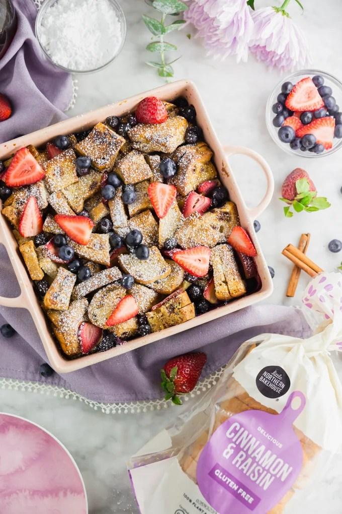 Overhead picture of gluten-free french toast casserole with Little Northern Bakehouse cinnamon raisin bread