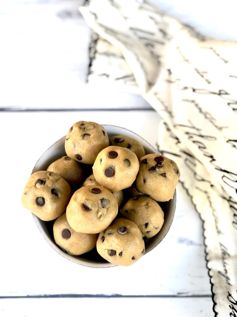 Bowl of Gluten-Free Chocolate Chip Cookie Dough Balls ready to eat
