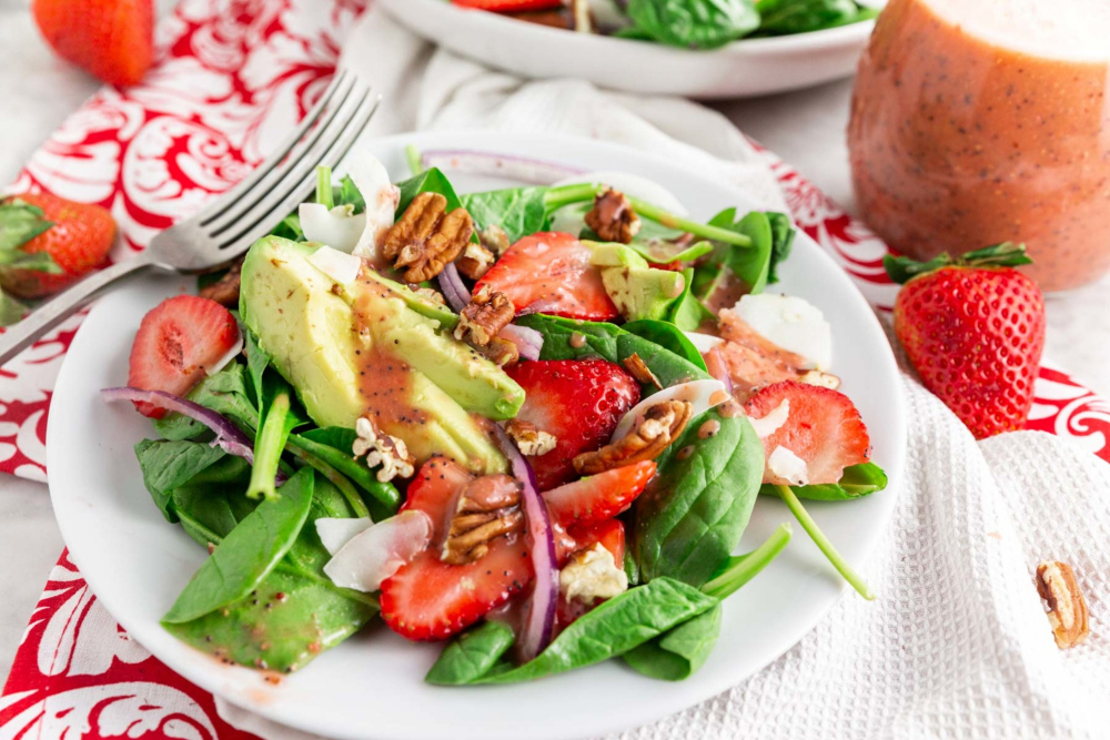 Strawberry Coconut Salad with Homemade Dressing - header