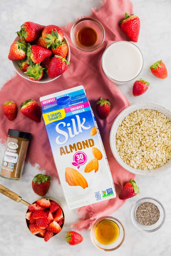 Picture of Silk Almondmilk surrounded by ingredients needed to make overnight oats