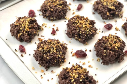 Chocolate covered crispy quinoa clusters header