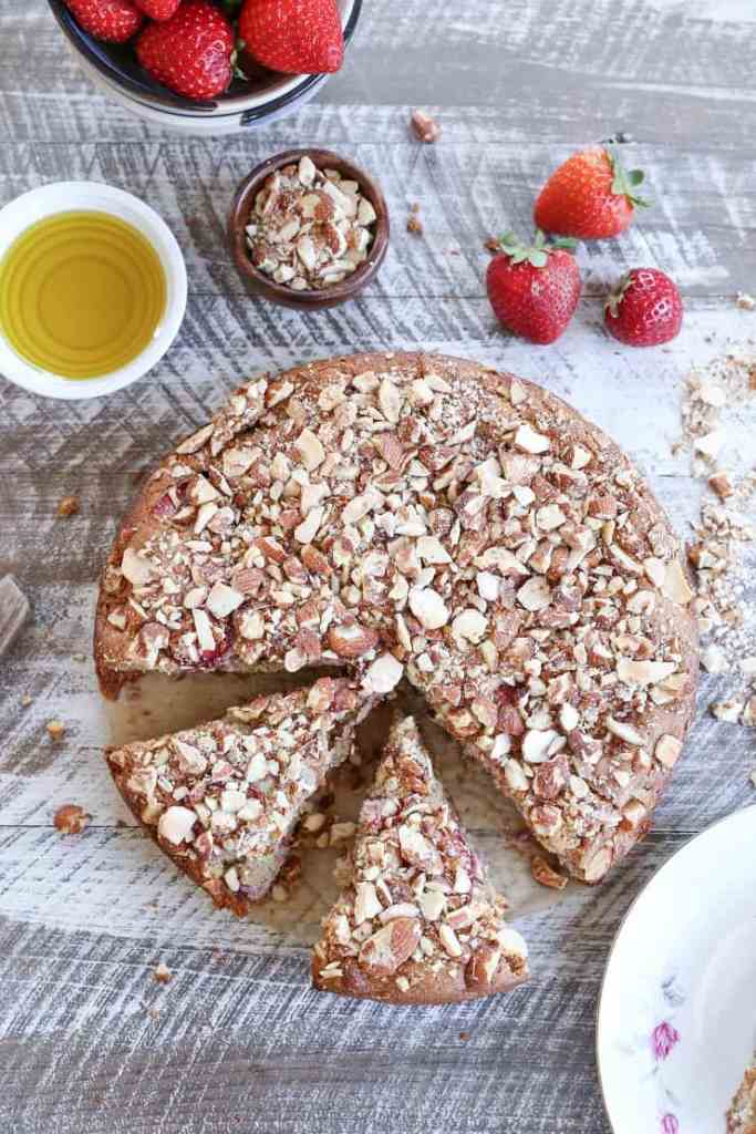 Grain-Free Almond Strawberry Breakfast Cake by The Roasted Root