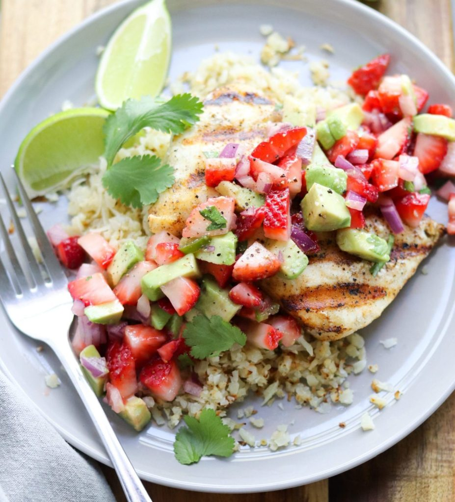 Grilled Halibut with Strawberry Guacamole by the Cook at Home Mom