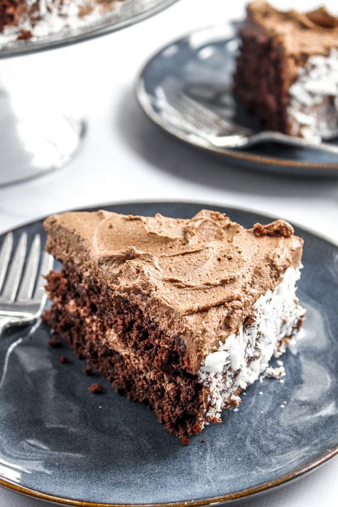 Photo of a sliced of chocolate quinoa cake with frosting. Recipe by Life After Wheat